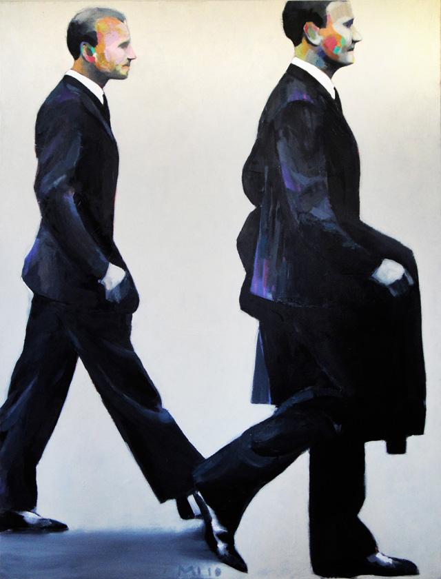Deux Marcheurs, Mathieu Iquel, huile sur toile, 2010, 130 x 97 cm