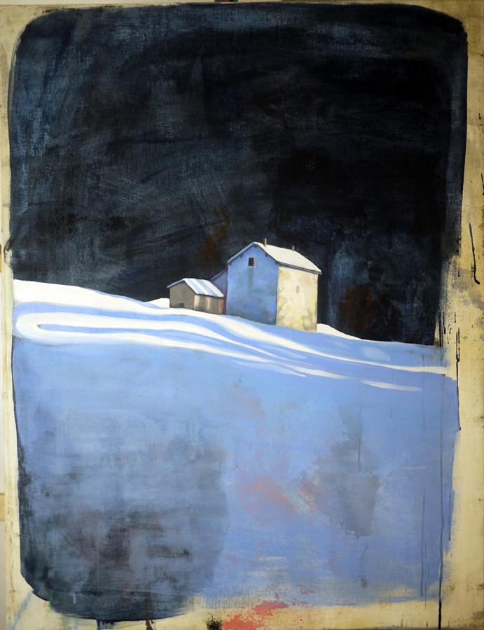 Maison Bleue, Mathieu Iquel, 2012, huile sur toile, 115 x 89 cm
