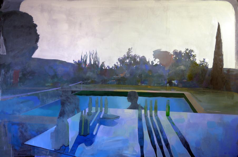 Piscine, Mathieu Iquel, 2013, huile sur toile, 130 x 195 cm