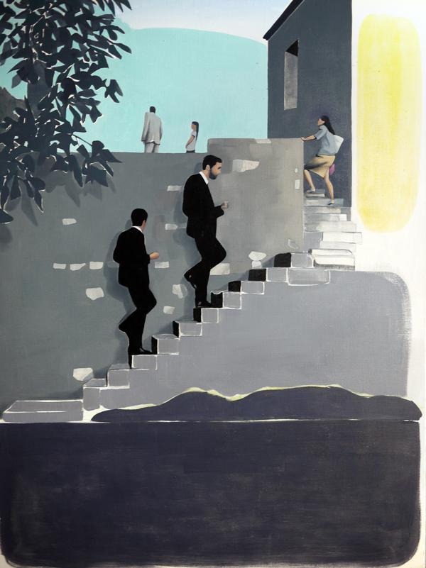 30 août, Mathieu Iquel, 2014, huile sur toile, 130 x 97 cm