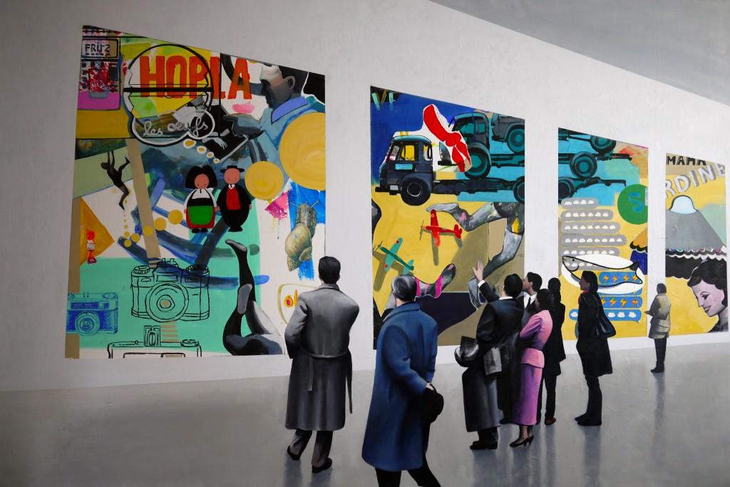 Hopla, Mathieu Iquel, huile sur toile, 2014, 130 x 195 cm